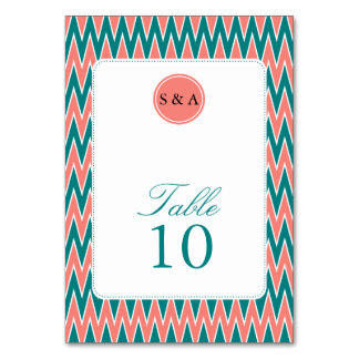 Monogram Coral Pink and Teal Zigzag Pattern Card