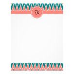 Monogram Coral Pink and Teal Zigzag Pattern Customized Letterhead