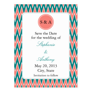 Monogram Coral Pink and Teal Zigzag Save the Date Postcard