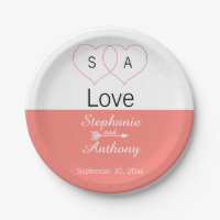 Monogram Coral Pink and White Color Block Wedding Paper Plate