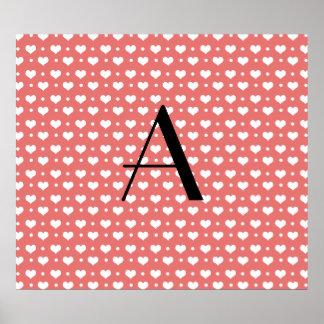 Monogram coral pink hearts and polka dots posters