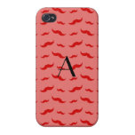 Monogram coral pink mustache pattern cases for iPhone 4