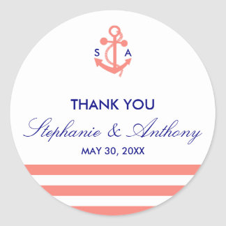 Monogram Coral Pink Nautical and Navy Blue Wedding Classic Round Sticker