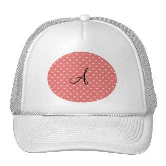 Monogram coral pink pearl polka dots trucker hat