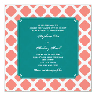 Monogram Coral Pink Quatrefoil Pattern with Teal 5.25x5.25 Square Paper Invitation Card