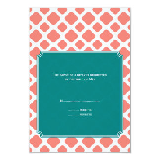 Monogram Coral Pink Quatrefoil Pattern with Teal 3.5x5 Paper Invitation Card