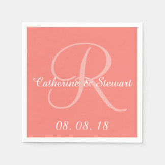 Monogram Coral Pink Stylish Color Design Wedding Standard Cocktail Napkin