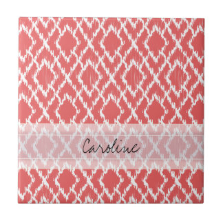 Monogram Coral Pink Tribal Ikat Diamond Pattern Ceramic Tile