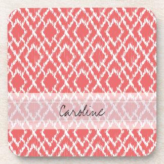 Monogram Coral Pink Tribal Ikat Diamond Pattern Coaster