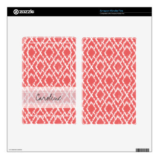 Monogram Coral Pink Tribal Ikat Diamond Pattern Kindle Fire Skin