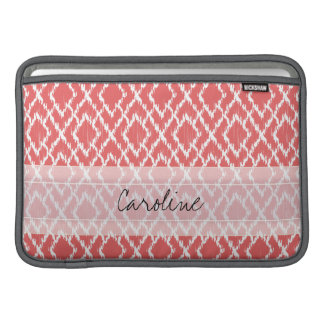 Monogram Coral Pink Tribal Ikat Diamond Pattern MacBook Air Sleeve