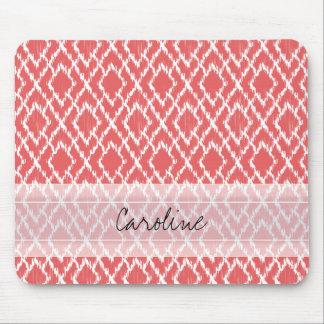Monogram Coral Pink Tribal Ikat Diamond Pattern Mouse Pad