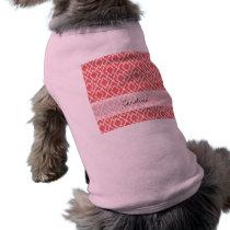 Monogram Coral Pink Tribal Ikat Diamond Pattern Shirt