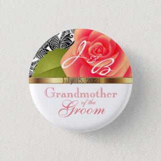 Monogram Coral Rose Wedding Design Button