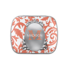 Monogram Coral Wedding Jelly Belly Candy Tin at Zazzle