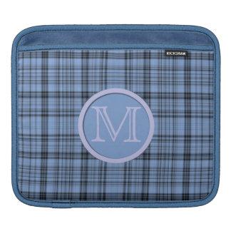 Monogram Cornflower Blue Plaid iPad Sleeve