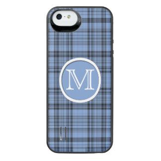 Monogram Cornflower Blue Plaid iPhone SE/5/5s Battery Case