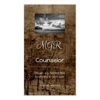 Monogram, Counselling Services, leather-effect Business Card Template