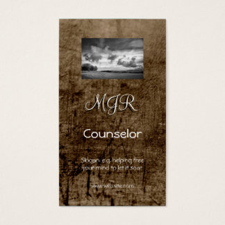 Monogram, Counselling Services, leather-effect Business Card