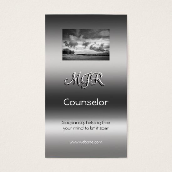 Monogram, Counselling Services, metallic-effect Business Card