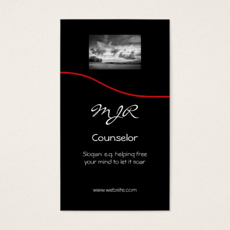 Monogram, Counselling Services, red swoosh Business Card