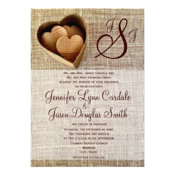 Monogram Country Wooden Hearts Burlap Wedding Cards
