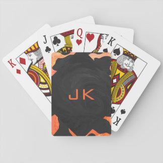 Monogram Cow Black and Orange Print Deck Of Cards