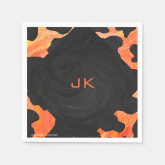 Monogram Cow Black and Orange Print Napkin