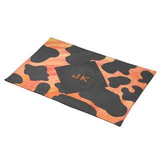 Monogram Cow Black and Orange Print Placemat
