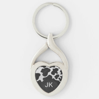 Monogram Cow Black and White Keychain