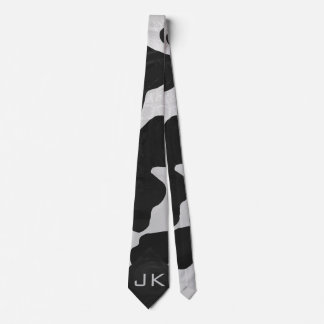 Monogram Cow Black and White Neck Tie