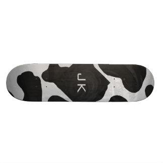 Monogram Cow Black and White Skateboard