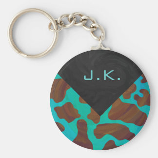 Monogram Cow Brown and Teal Print Basic Round Button Keychain
