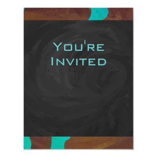 Monogram Cow Brown and Teal Print Card