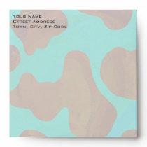 Monogram Cow Brown and Teal Print Envelope