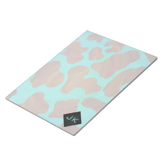 Monogram Cow Brown and Teal Print Notepad