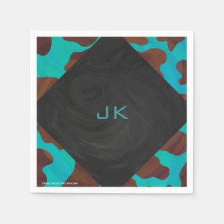 Monogram Cow Brown and Teal Print Paper Napkin