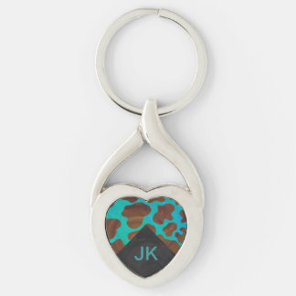Monogram Cow Brown and Teal Print Silver-Colored Heart-Shaped Metal Keychain