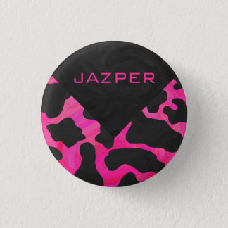 Monogram Cow Hot Pink and Black Print Pinback Button
