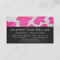 Monogram Cow Hot Pink and White Print Business Card