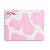 Monogram Cow Hot Pink and White Print Envelope