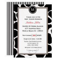 Monogram Cow Pattern and Stripes Baby Shower Invitation