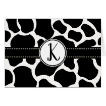 Monogram Cow Spots All Ocassion Thank You Note Card