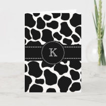 Monogram Cow Spots Thank You Note