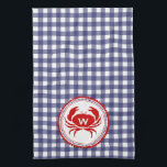 "Monogram Crab &amp; Blue Gingham Kitchen Towel<br><div class=""desc"">A kitchen towel featuring a blue gingham design.  Personalize with your monogram over red crab illustration.</div>"