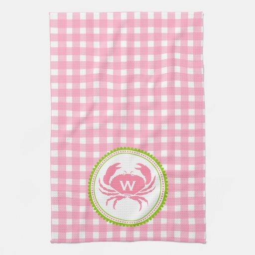 Monogram Crab Pink Gingham Kitchen Towel Zazzle