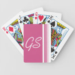 Monogram Cranberry Pink Trio Stripes with White Bicycle Playing Cards