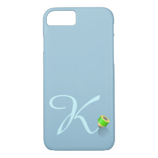 Monogram & crayon, icy theme, letter « K » iPhone 7 Case