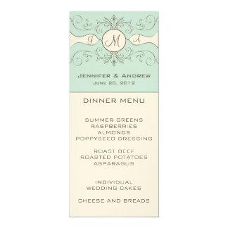 Monogram Cream Blue Wedding Menu Card