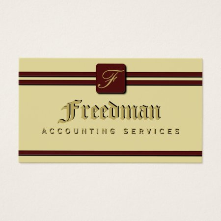 Cream and Burgundy Monogram Accounting and Finance Business Cards Template
